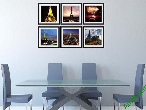 Hình ảnh Bộ khung tranh nghệ thuật treo phòng ăn hiện đại tháp eiffel