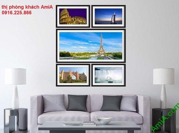 Hình ảnh mẫu Bộ khung tranh trang trí khám phá thế giới treo phòng khách