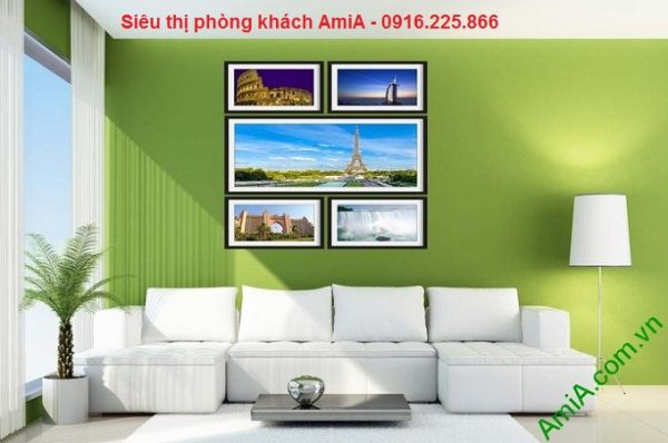 Hình ảnh mẫu Bộ khung tranh trang trí phòng khách khám phá thế giới