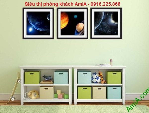 Hình ảnh mẫu Bộ khung tranh trang trí phòng trẻ em vũ trụ bao la