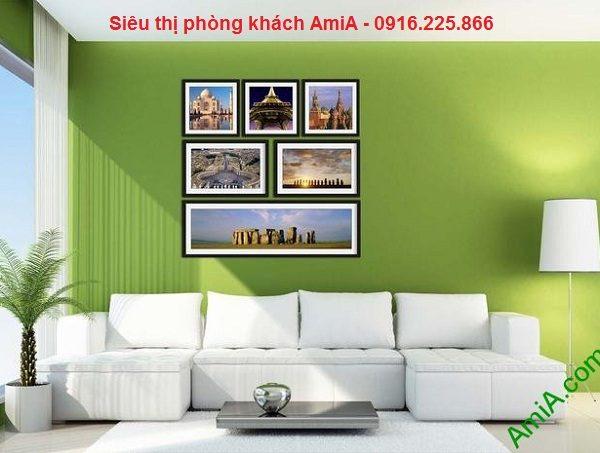 Hình ảnh mẫu Bộ khung tranh trang trí tường đẹp di sản thế giới treo phòng khách