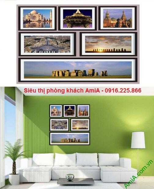 Hình ảnh Bộ khung tranh trang trí tường đẹp di sản thế giới ghép trong phòng khách