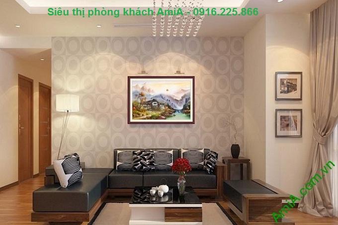 Hình ảnh Bộ tranh khung cảnh thủy mặc non nước mây trời treo phòng khách
