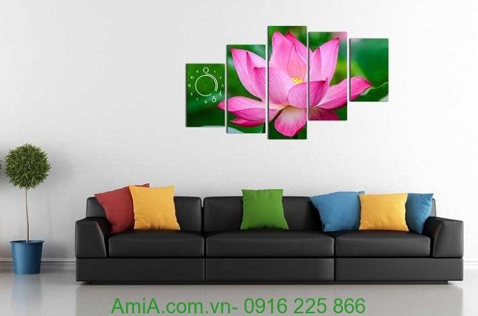 Hình ảnh Đồng hồ tranh treo tường hoa sen làm đẹp phòng khách