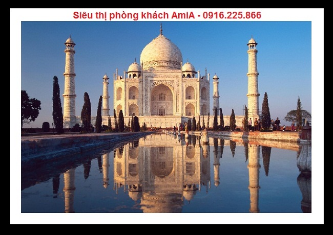 Hình ảnh Lăng mộ Taj Mahal tại Ấn Độ trong bộ khung tranh di sản thế giới trang trí phòng khách