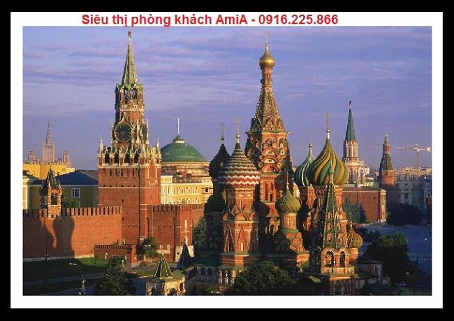 Hình ảnh tòa lâu đài Moscow Kremlin trong bộ khung tranh di sản thế giới