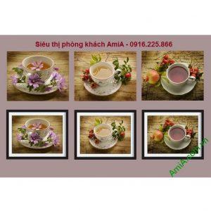 Hình ảnh bộ khung tranh gỗ treo tường thưởng trà treo phòng khách, phòng ăn