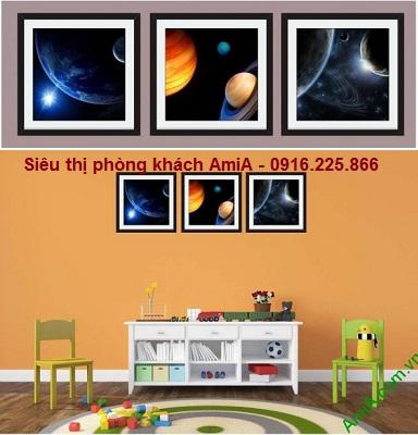 Hình ảnh bộ khung tranh trang trí phòng trẻ em vũ trụ
