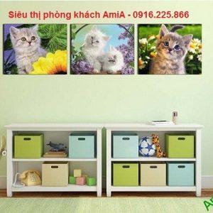 Hình ảnh Bộ tranh ghép động vật ba tấm tạo điểm nhấn ấn tượng cho căn phòng