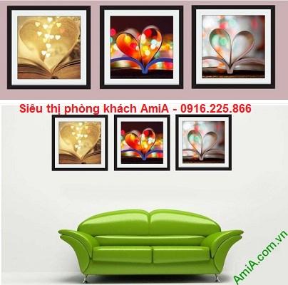 Hình ảnh mẫu bộ tranh ghép nghệ thuật trang trí phòng khách, phòng ăn