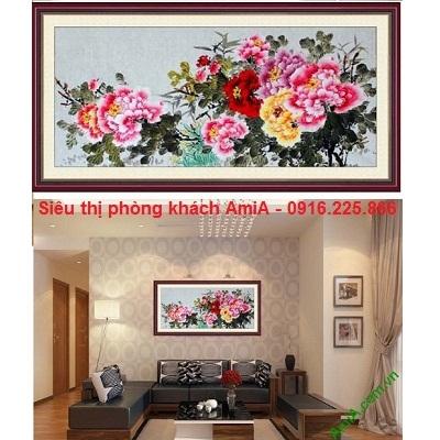Hình ảnh Khung tranh gỗ treo phòng khách đẹp hoa mẫu đơn