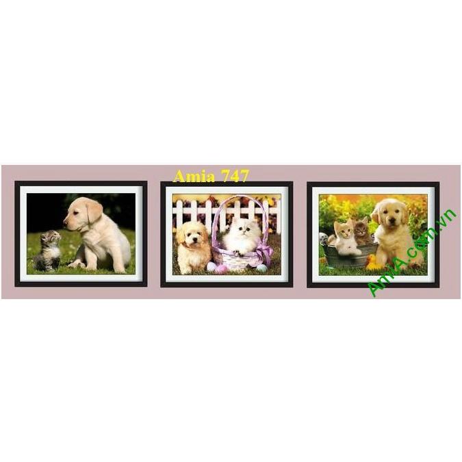 Hình ảnh mẫu khung Tranh trang trí phòng trẻ nhỏ cún mèo