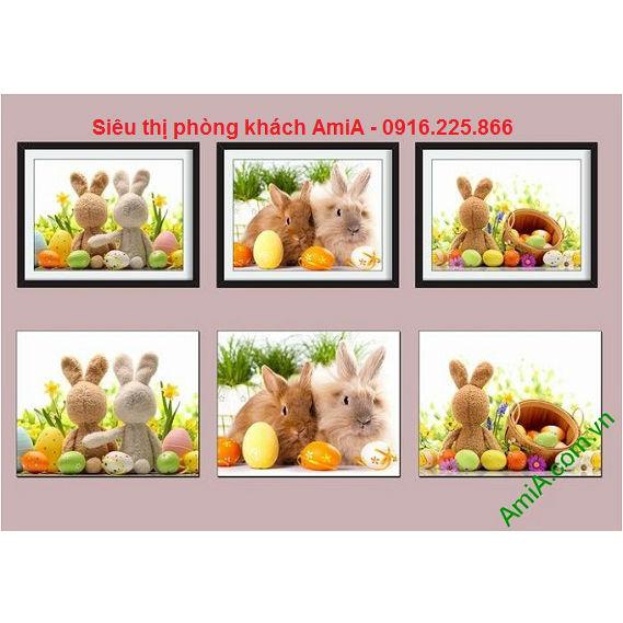 Hình ảnh Khung tranh treo tường phòng trẻ em bạn thỏ