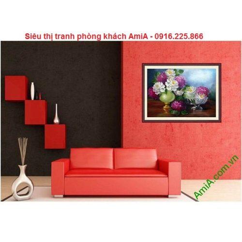 Mẫu tranh bình hoa nghệ thuật đẹp trang trí phòng khách, phòng ăn