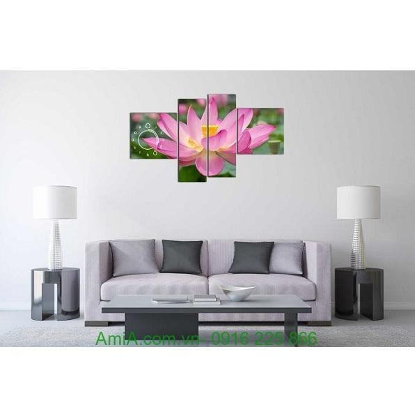 Hình ảnh Tranh đồng hồ hoa sen treo phòng khách