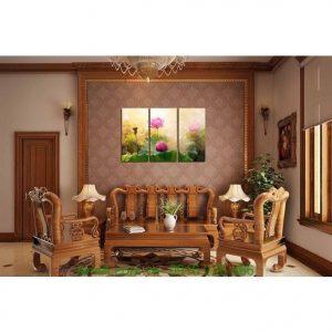 Hình ảnh mẫu tranh ghép bộ đầm hoa sen treo phòng khách
