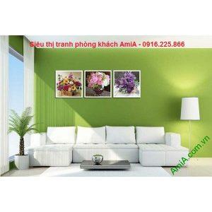 Hình ảnh tranh ghép bộ treo phòng khách đẹp giỏ hoa