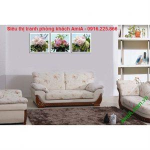 Hình ảnh Tranh hoa mẫu đơn ghép bộ trang trí phòng khách