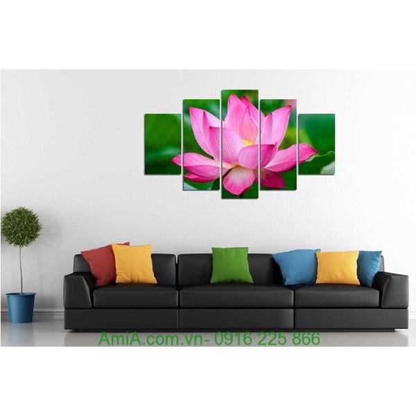 Hình ảnh Tranh hoa sen ghép bộ treo phòng khách hiện đại