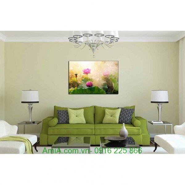 Hình ảnh mẫu thiết kế tranh hoa sen nghệ thuật một tấm