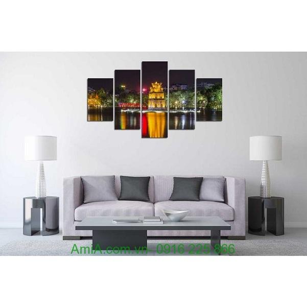 Hình ảnh mẫu Tranh phong cảnh trang trí phòng khách đêm hồ gươm