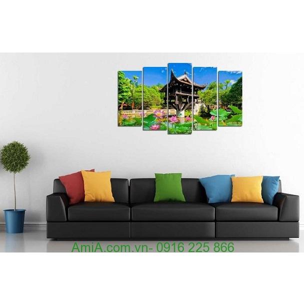 Hình ảnh mẫu tranh phong cảnh treo phòng khách đẹp chùa một cột