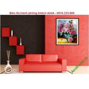 Hình ảnh Tranh hoa hồng nghệ thuật in giả sơn dầu