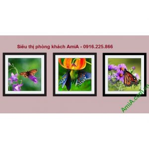 Hình ảnh Tranh trang trí nội thất đẹp treo phòng khách, phòng trẻ em hoa bướm