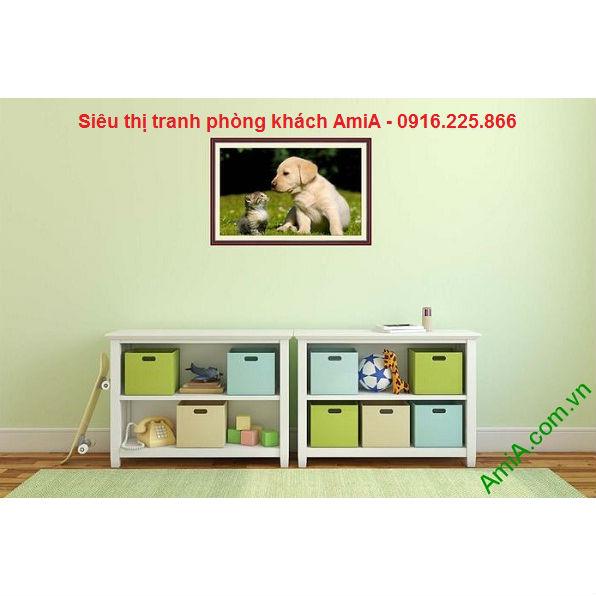 Hình ảnh Tranh trang trí phòng trẻ em thú cưng