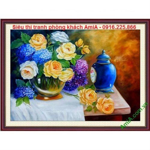 Hình ảnh tranh treo phòng khách bình hoa nghệ thuật