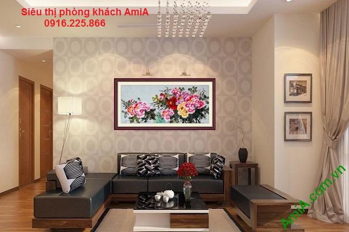 Hình ảnh mẫu Khung tranh gỗ treo phòng khách đẹp hoa mẫu đơn ý nghĩa