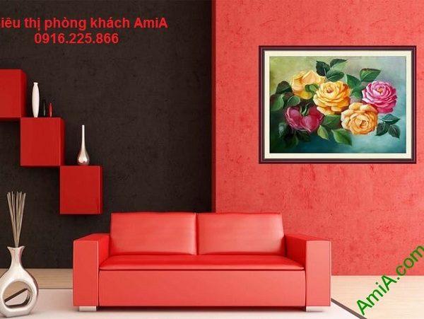 Hình ảnh mẫu khung tranh hoa hồng nghệ thuật treo phòng khách