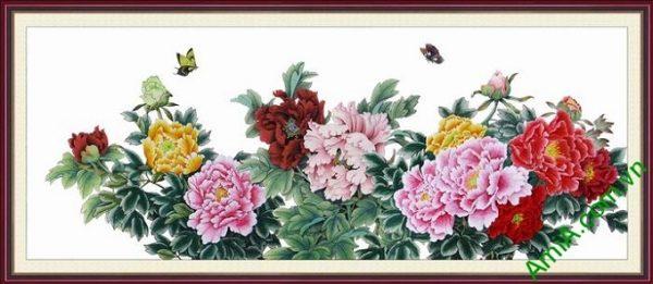 Hình ảnh Khung tranh nghệ thuật hoa mẫu đơn treo phòng khách