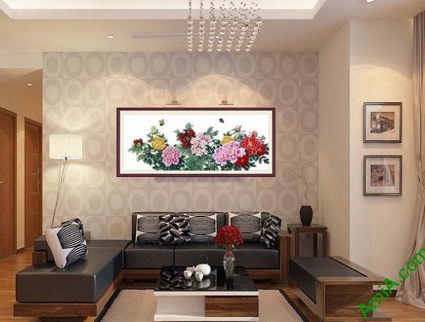 Hình ảnh Khung tranh nghệ thuật treo phòng khách hoa mẫu đơn