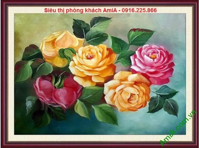 Hình ảnh mẫu Khung tranh treo phòng khách nghệ thuật hoa hồng