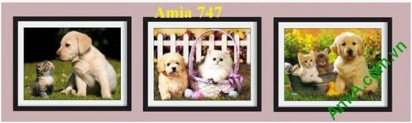 Hình ảnh mẫu khung Tranh trang trí phòng trẻ nhỏ cún mèo đáng yêu