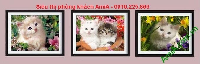 Hình ảnh mẫu thiết kế Tranh mèo con treo phòng của bé bo khung ngoài