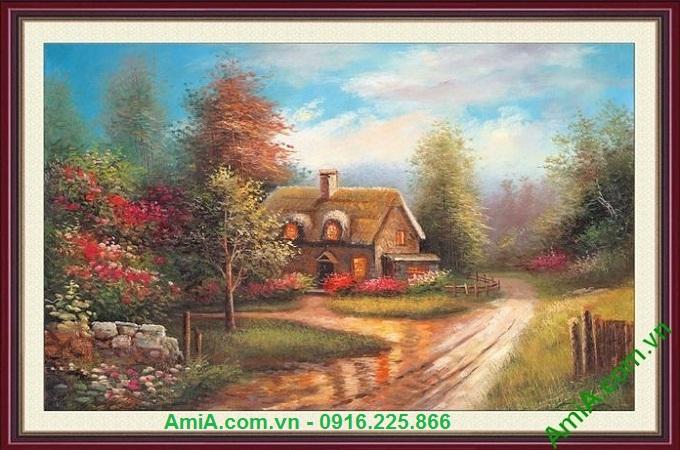 Hình ảnh Mẫu tranh phong cảnh đẹp ngôi nhà châu âu