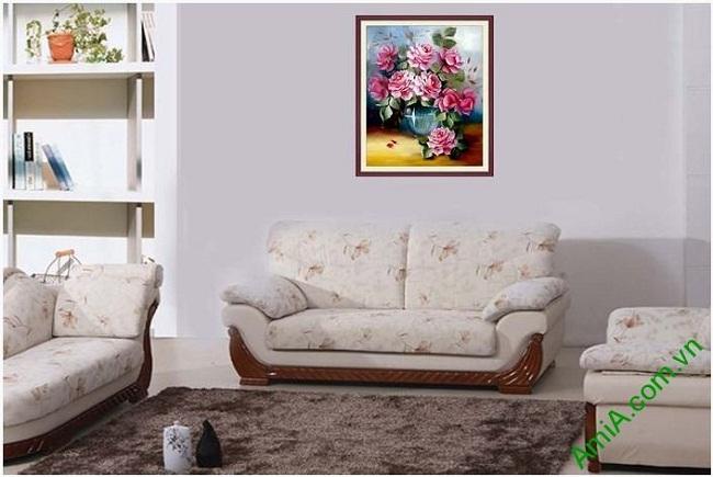Ý nghĩa tranh bình hoa hồng trang trí phòng khách đẹp