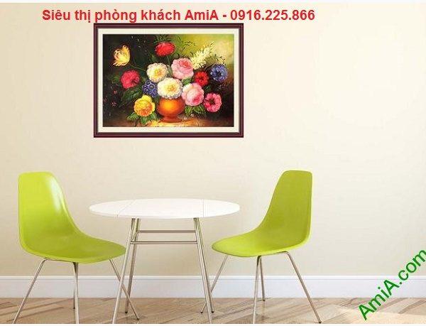 Hình ảnh Tranh bình hoa phú quý trang trí phòng ăn