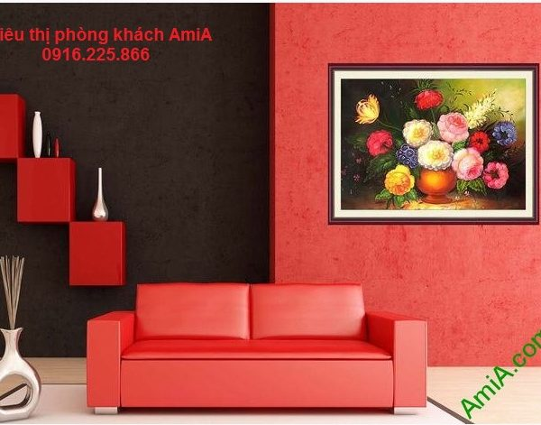 Hình ảnh Tranh bình hoa phú quý treo phòng khách