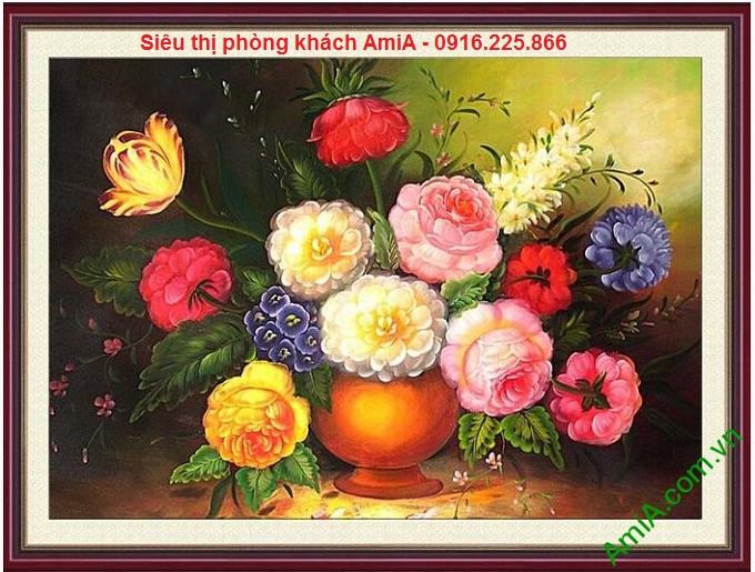 Hình ảnh mẫu thiết kế Tranh bình hoa phú quý