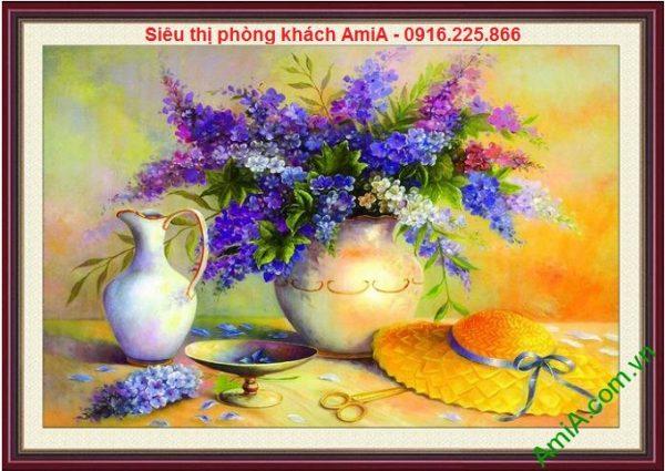 Hình ảnh mẫu thiết kế Tranh bình hoa treo phòng khách nghệ thuật