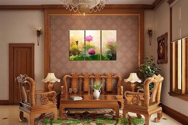 Hình ảnh Tranh ghép bộ đầm hoa sen treo phòng khách hiện đại