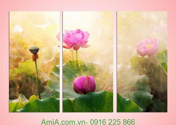 Hình ảnh Tranh ghép bộ đầm hoa sen treo phòng khách