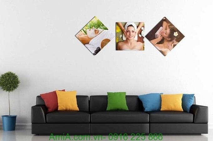 Hình ảnh Tranh ghép bộ hình thoi trang trí spa đẹp dưỡng da treo phòng khách
