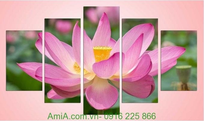 Hình ảnh mẫu Tranh ghép bông hoa sen khổ lớn treo phòng khách