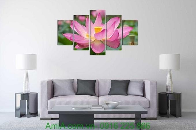 Hình ảnh Tranh ghép bông hoa sen khổ lớn treo tường phòng khách