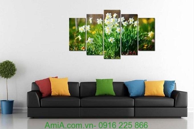 Hình ảnh Tranh ghép khổ lớn treo phòng khách đẹp hoa thủy tiên