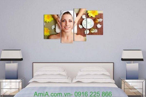 Hình ảnh Tranh ghép trang trí spa chăm sóc dưỡng da treo phòng ngủ